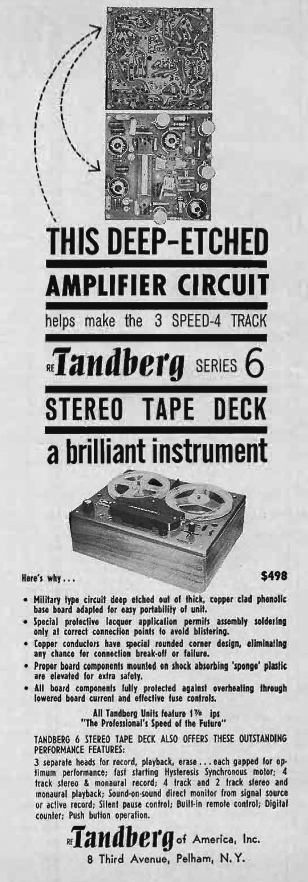 1961 Tandberg Series 6  reel to reel tape recorder ad in the Reel2ReelTexas.com's vintage recording collection