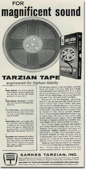 Tarzian reel to reel tape ad