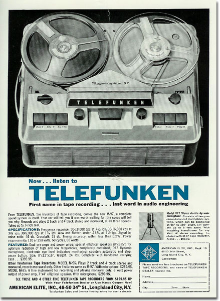 picture of Telefunken reel to reel tape recorder ad