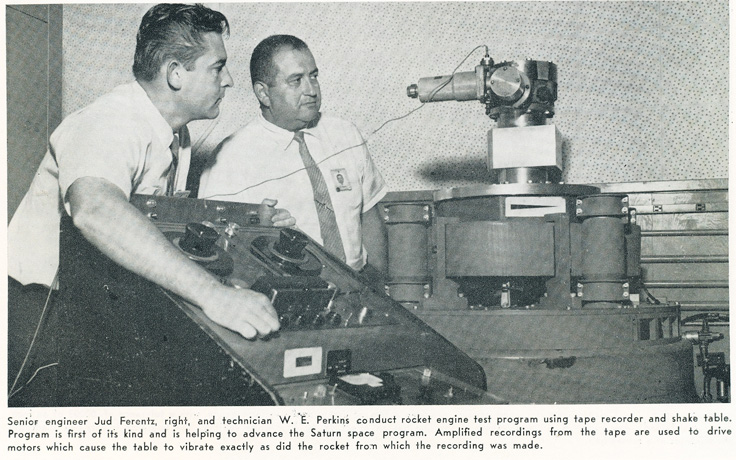 1961 picture showing Ampex reel to reel tape recorder being used by NASA for the Satern space rocket