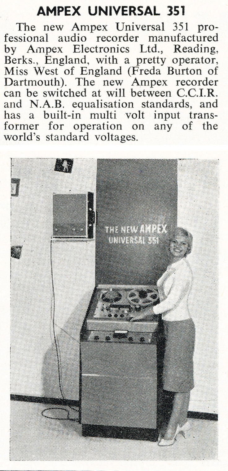 1961 United Kingdom ad for the Ampex 351 reel to reel tape recorder in Reel2ReelTexas.com's vintage recording collection