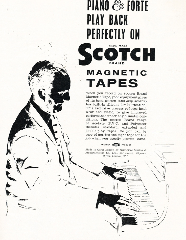 1961 United Kingdom ad for Scotch reel to reel recording tape in Reel2ReelTexas.com's vintage recording collection