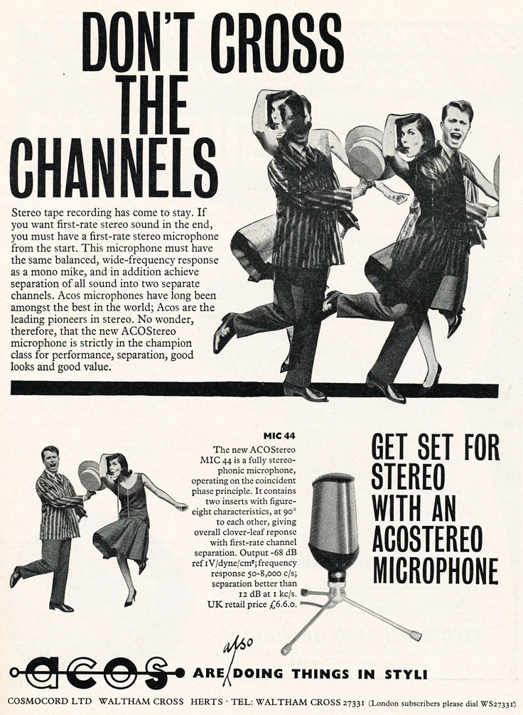 1961 United Kingdom ad for the Ecos stereo microphonein Phantom Productions' vintage recording collection
