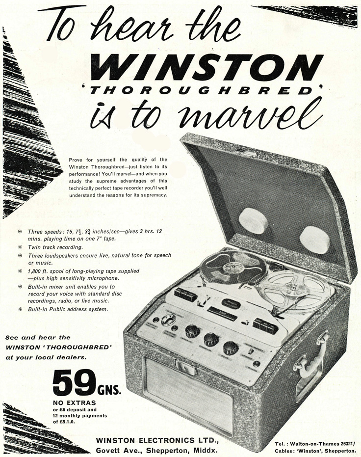 1961 United Kingdom ad for the Winston Thoroughbred reel to reel tape recorder in Reel2ReelTexas.com's vintage recording collection