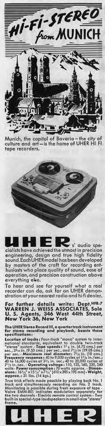 1961 ad for Uher reel to reel tape recorders in  Reel2ReelTexas.com's vintage recording collection