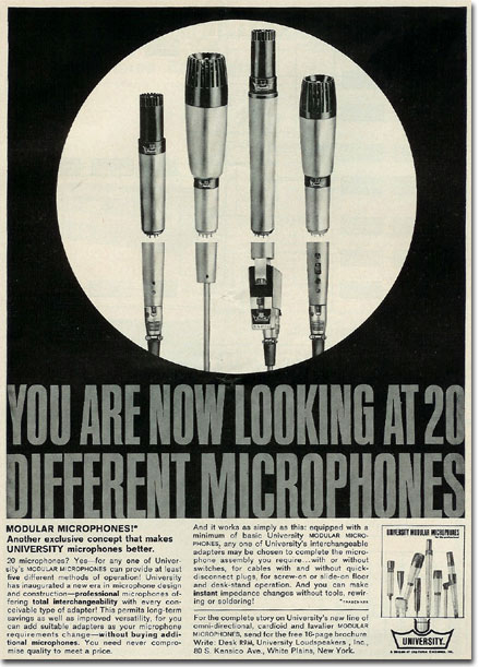 1961 ad for University microphones in Phantom Productions' vintage recording collection