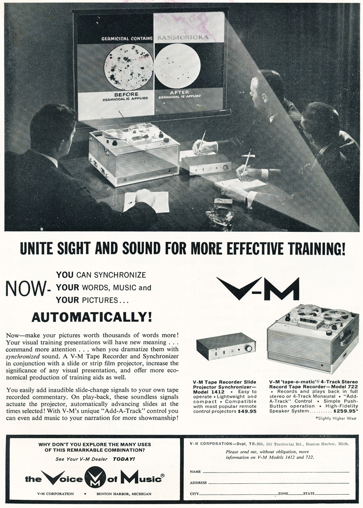 1961 ad for Voice of Music reel to reel tape recorders in Phantom Productions' vintage recording collection