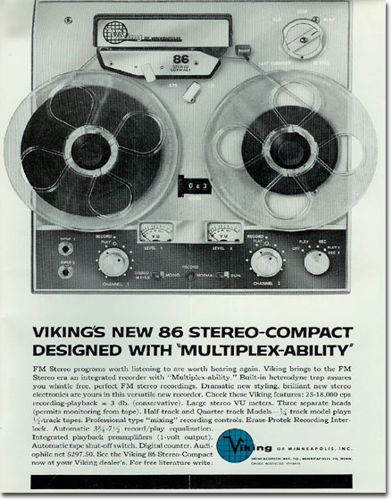 picture of Viking reel to reel tape recorder ad