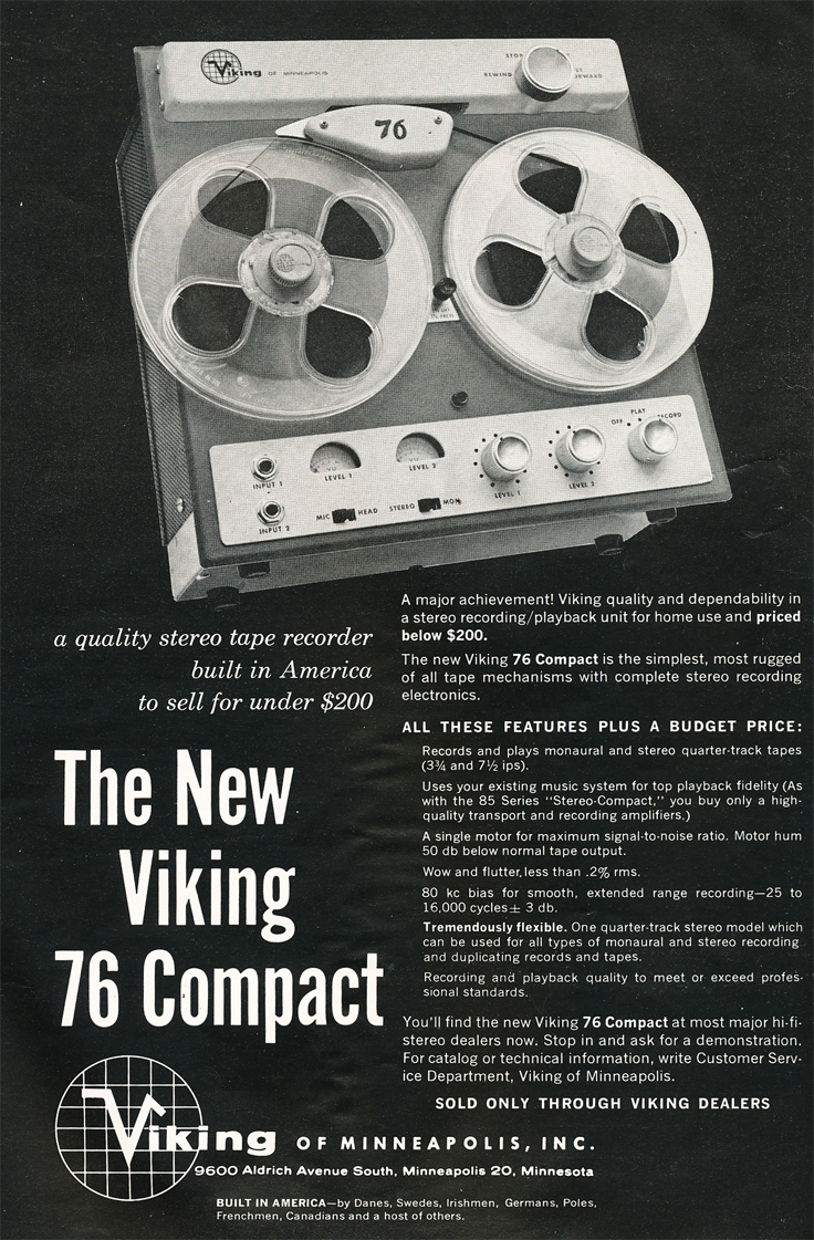 1961 ad for the Viking 76 reel to reel tape recorder in   Reel2ReelTexas.com's vintage recording collection