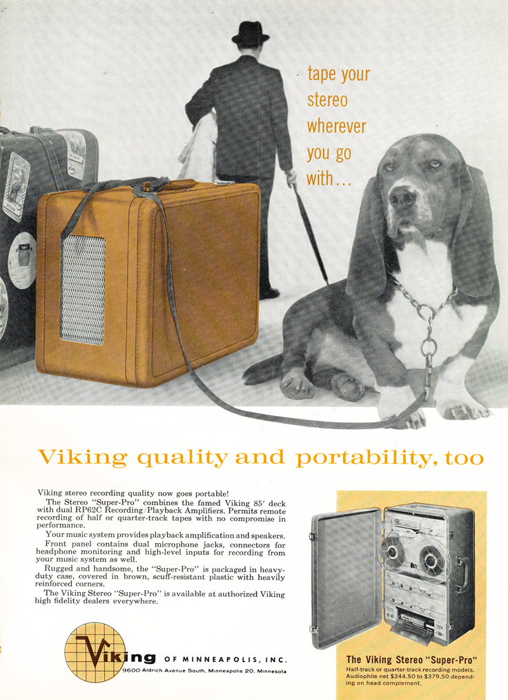 1961 ad for the Viking 85 reel to reel tape recorder in Phantom productions' vintage recording collection
