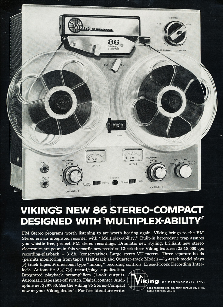 1961 ad for the Viking 86 reel to reel tape recorder in Reel2ReelTexas.com's vintage recording collection