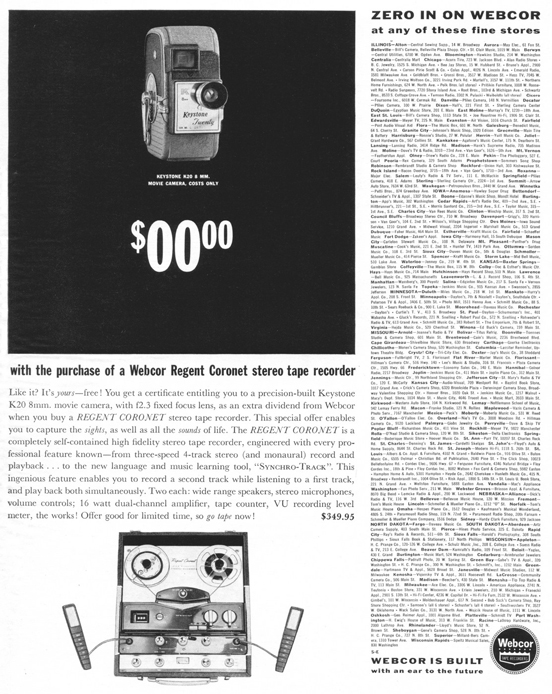 1961 ad for Webcor reel to reel tape recorders in Phantom Productions' vintage recording collection