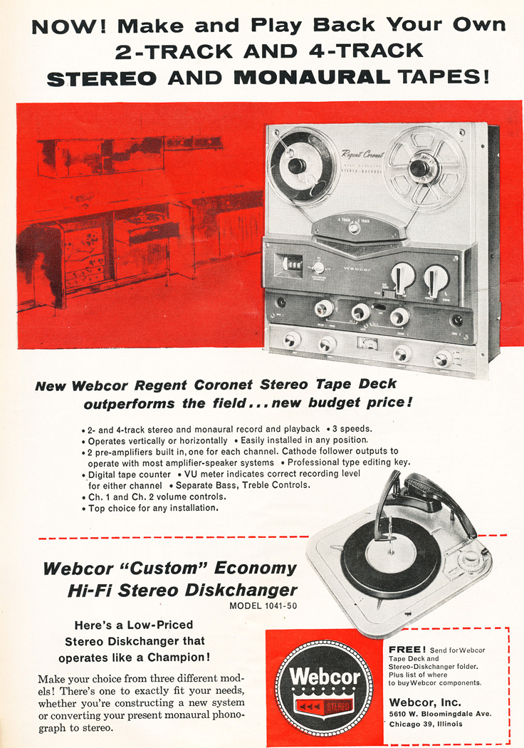 1961 ad for Webcor reel to reel tape recorders in Phantom Productions' vintage recordin
