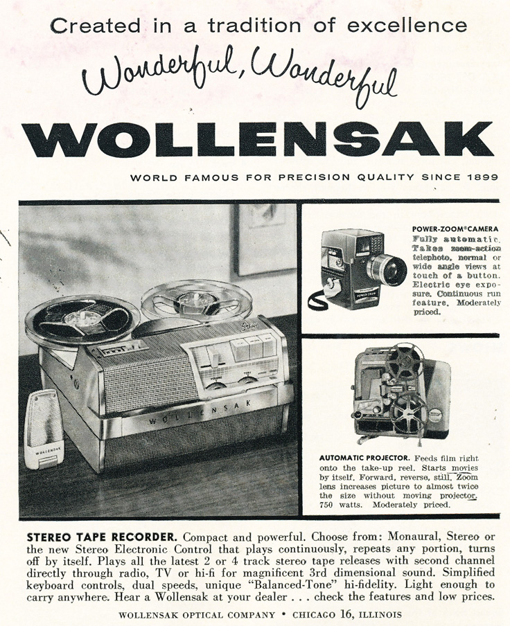 1961 ad for the 3M Wollensak 1515 reel to reel tape recorder in Phantom Productions' vintage recording collection