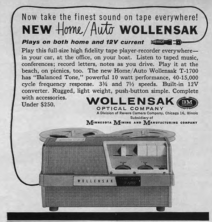 1961 ad for the 3M Wollensak 1700 12 volt reel to reel tape recorder in Reel2ReelTexas.com's vintage recording collection