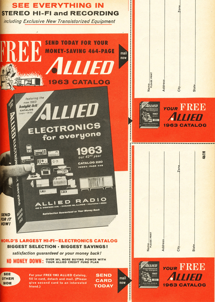 1962 ad for the 1963 Allied Radio catalog in Reel2ReelTexas.com's vintage recording collection