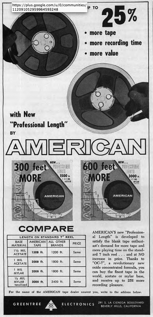 1962 ad for American Reel recording tape in the Phantom Productions vintage recording collection
