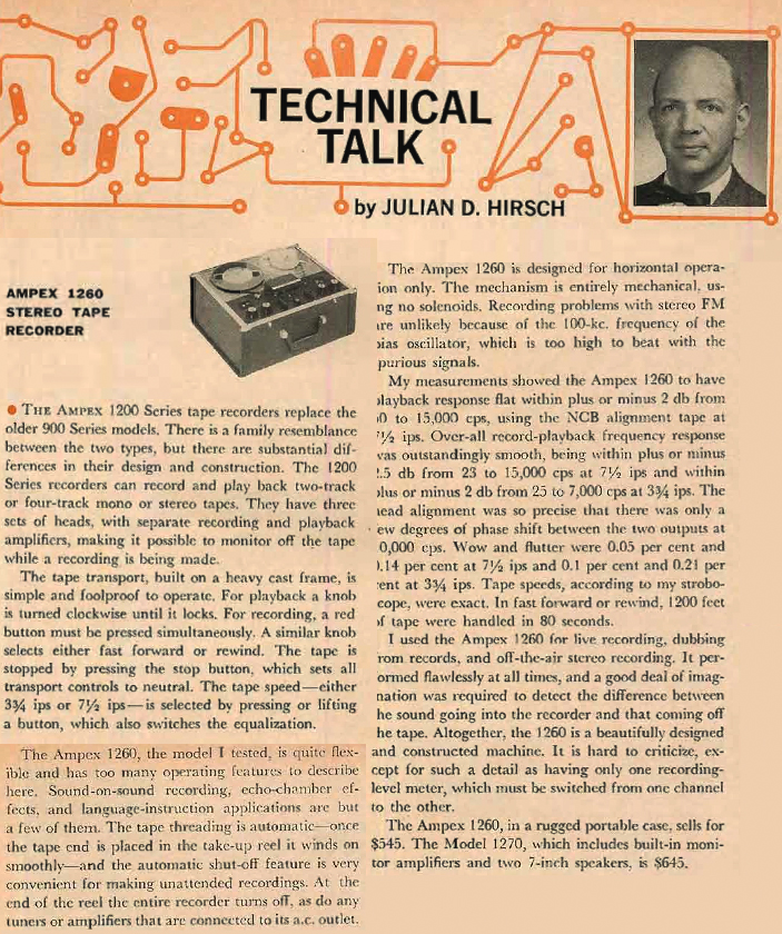 1962 Julian Hirsch review of the Ampex 1260 reel to reel tape recorder in Reel2ReelTexas.com's vintage recording collection