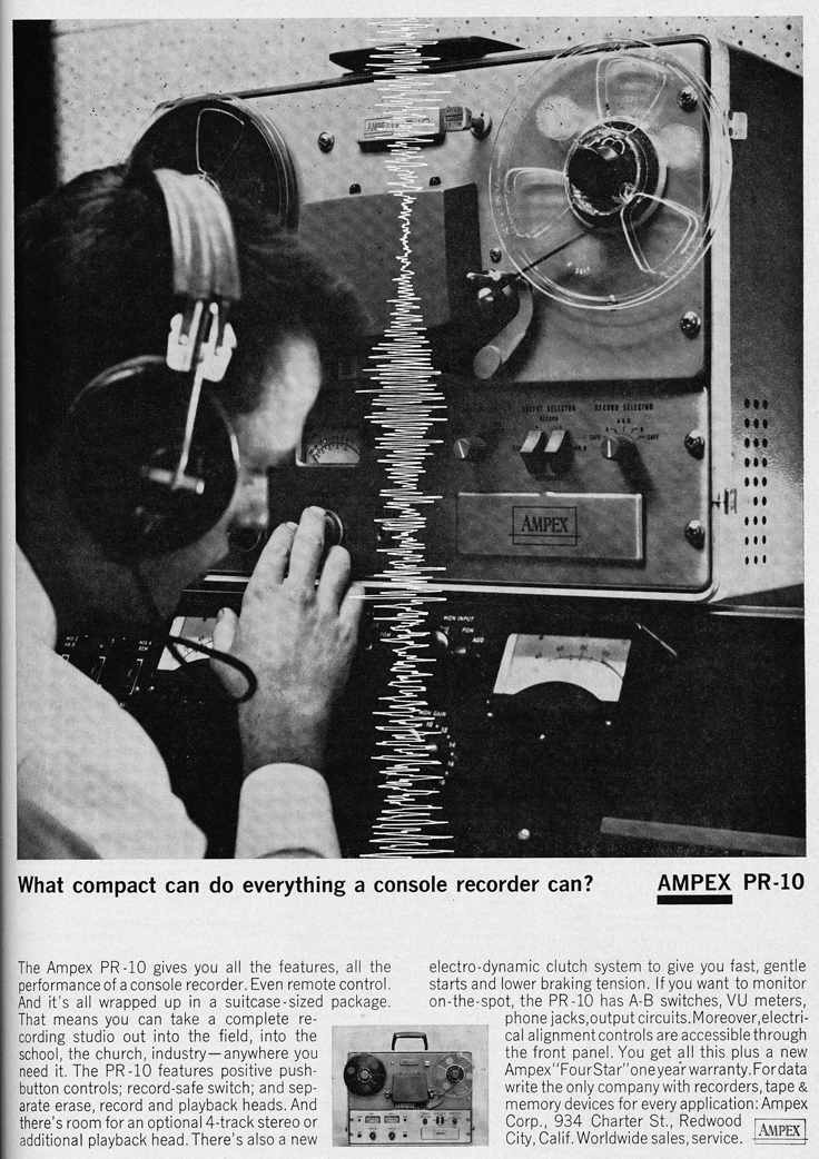 1962 ad for the Ampex PR10 tape recorder in Reel2ReelTexas.com's vintage recording collection
