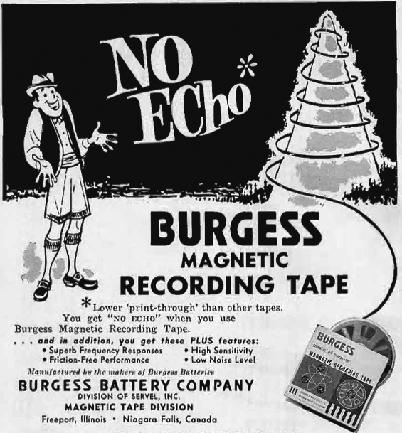 1962 ad for Burgess reel to reel recording tape in Reel2ReelTexas.com's vintage recording collection
