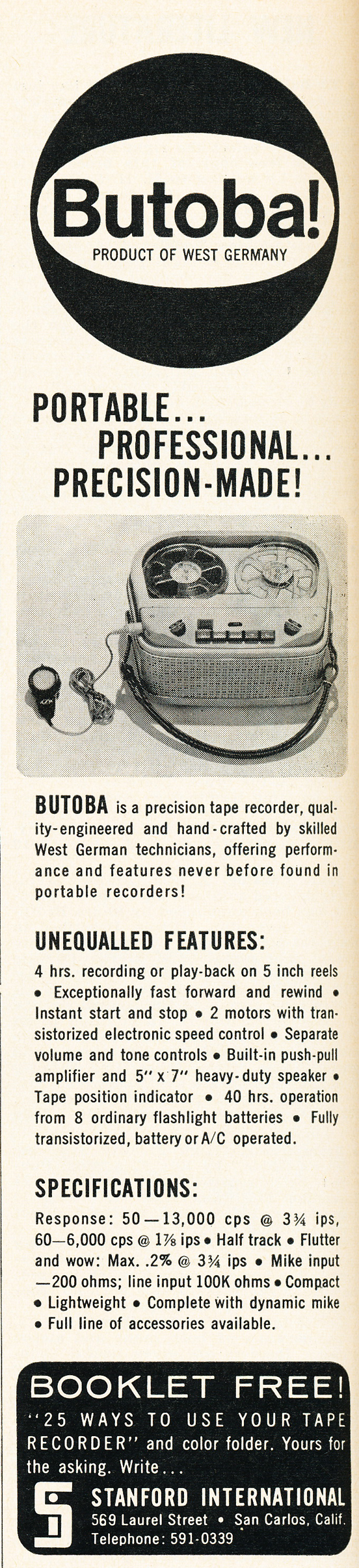 1962 ad for the Butoba reel to reel tape recorder in Reel2ReelTexas.com's vintage recording collection