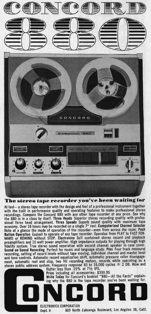 1962 ad for the Concord 880 reel to reel tape recorder in Reel2ReelTexas.com's vintage recording collection