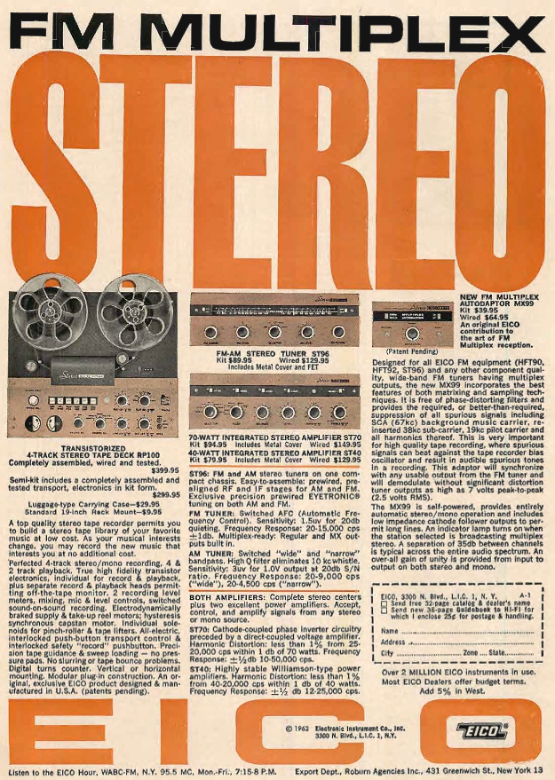1962 ad for the Eico RP-100 kit reel to reel tape recorder in Reel2ReelTexas.com's vintage recording collection