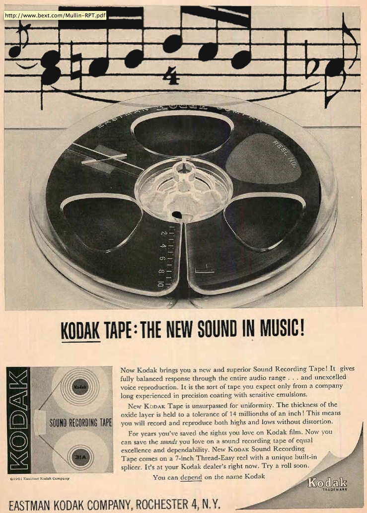1962 ad for Kodak reel to reel recording tape in Reel2ReelTexas.com's vintage recording collection