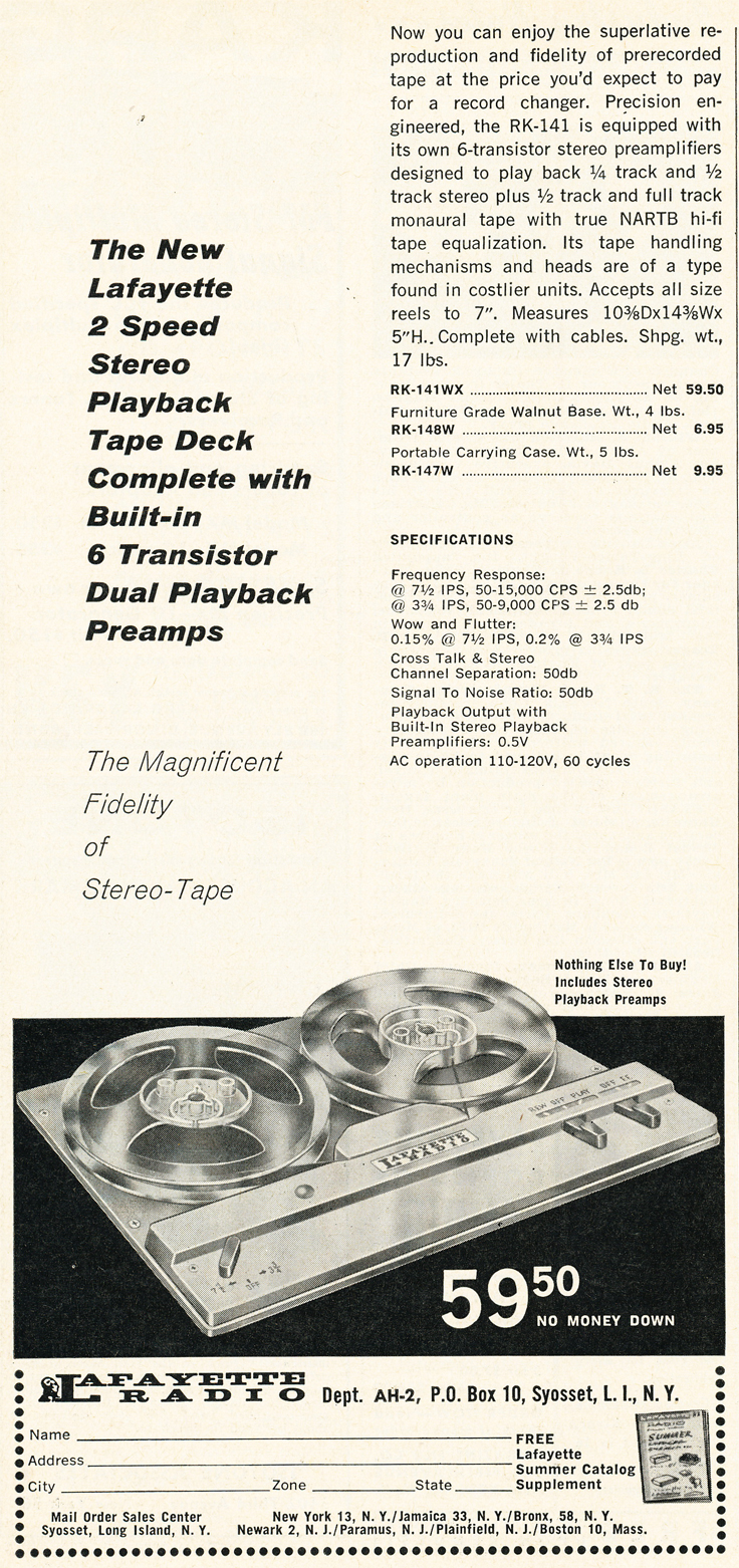 1962 ad for the Lafayette RK-141 reel to reel tape recorder in Reel2ReelTexas.com's vintage recording collection