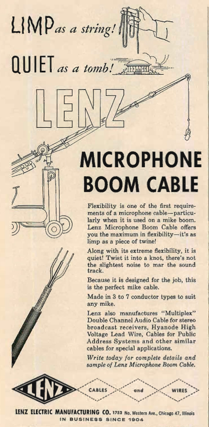 1962 ad for the Lenz recording stands in Reel2ReelTexas.com's vintage recording collection