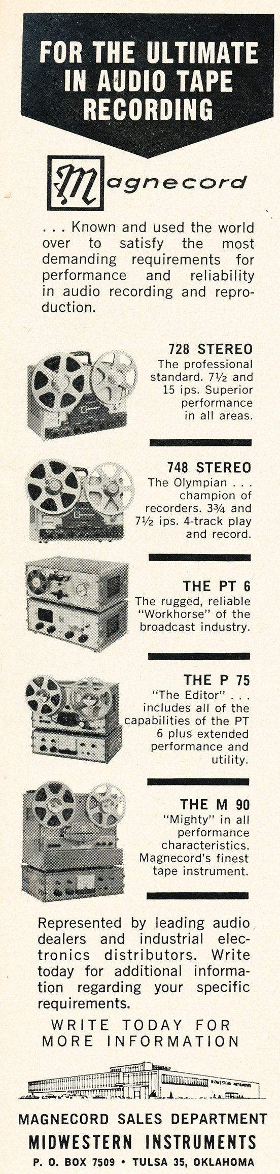 1962 ad for Magnecord reel to reel  tape recorders in the Phantom Productions vintage recording collection