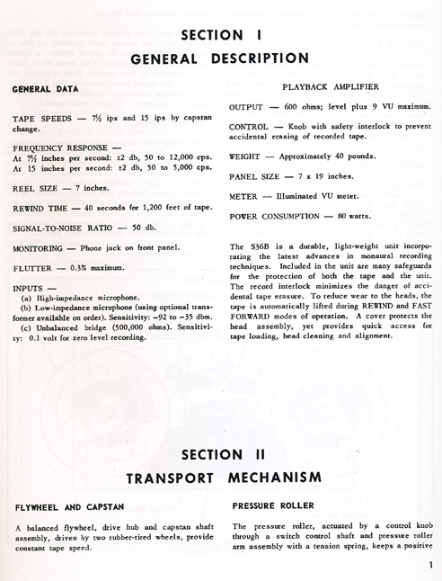 1962 manual page for Magnecord S36B tape recorder in Phantom Productions' vintage tape recording collection