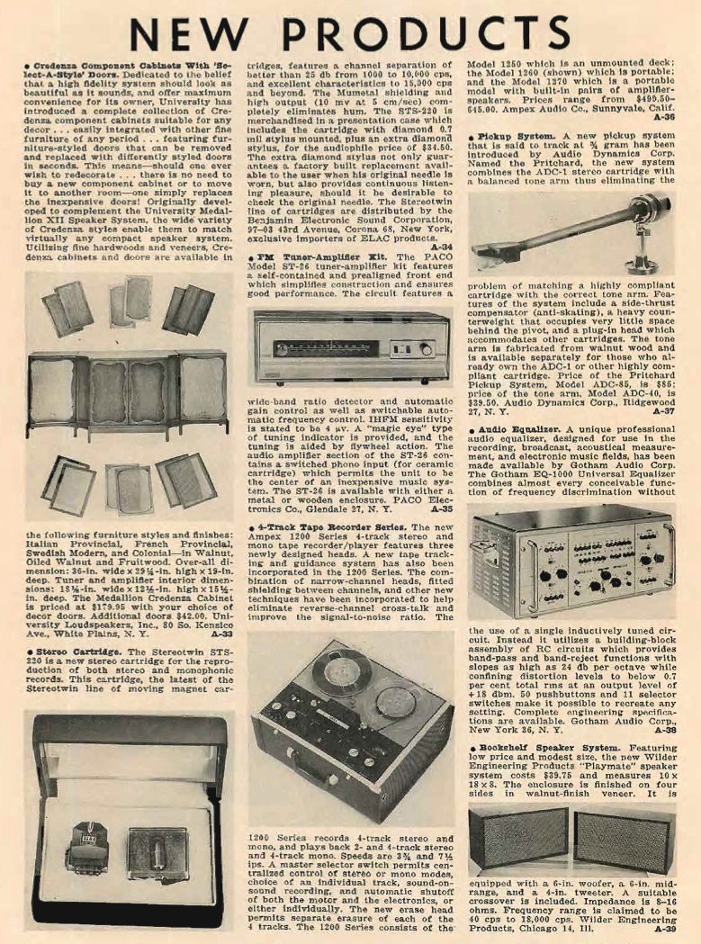1962 listing of new porducts in Reel2ReelTexas.com's vintage recording collection