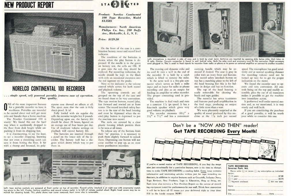 1962 review of the Norelco 1000 portable reel to reel tape recorder in Reel2ReelTexas.com's vintage recording collection