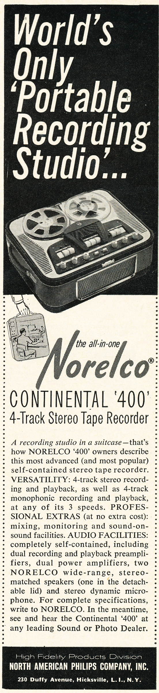 1962 ad for the Norelco Continental tape recorder in the Phantom Productions vintage recording collection