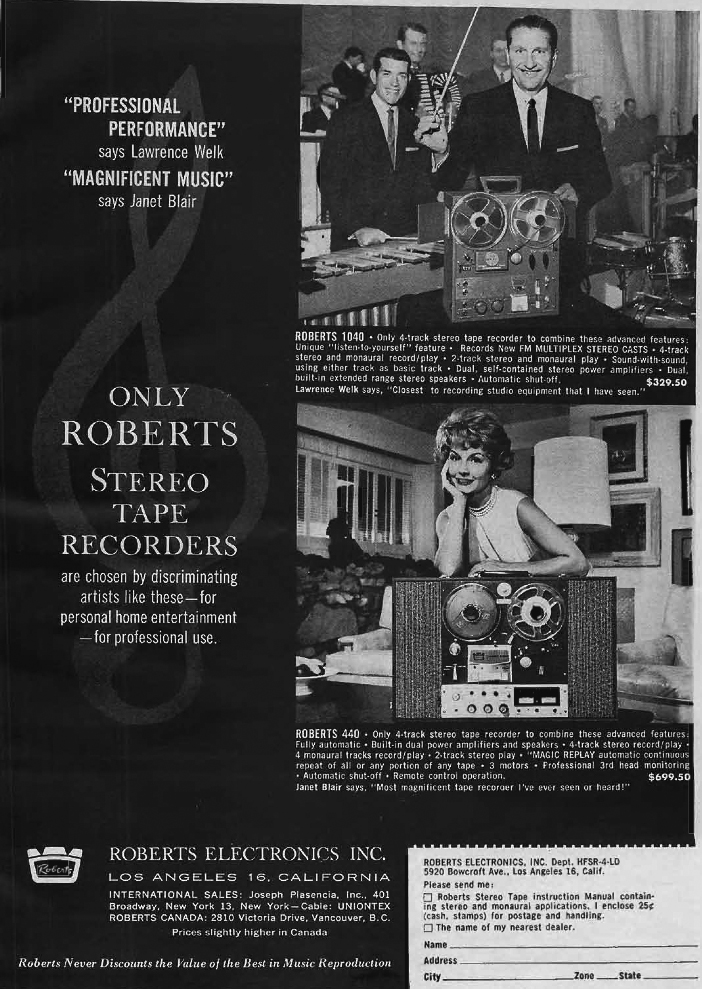 1962 ad for the Roberts 1040 reel to reel tape recorder featuring Lawrence Welk  and the Roberts 440 reel to reel tape recorder featuring Janet Blair in Reel2ReelTexas.com vintage reel to reel tape recorder collection