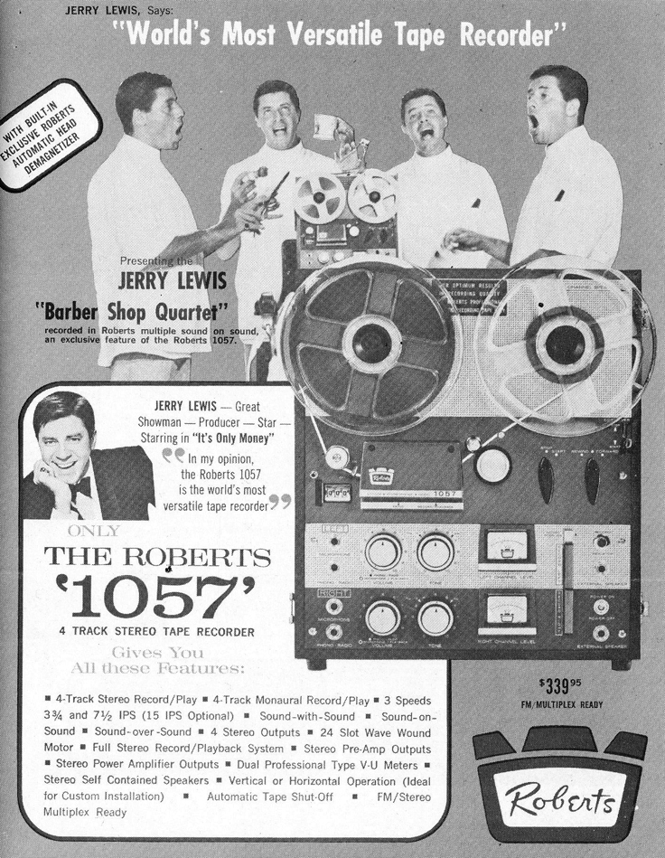 1962 ad for the Roberts 1057 reel to reel tape recorder featuring Jerry Lewis in Reel2ReelTexas.com vintage reel to reel tape recorder collection