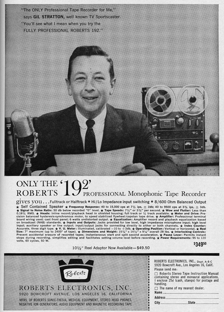 1962 ad for the Roberts 192 Broadcast reel tape recorder in Reel2ReelTexas.com's vintage recording collection.  Interesting placement of the Calrad 500C $5.95 microphone since they were presenting the Roberts 192 as a professional braodcast recorder.