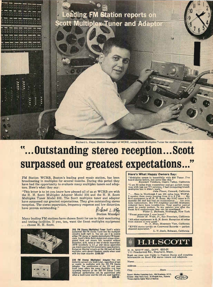 1962 HH Scott ad that sows an Ampex reel tape recorder