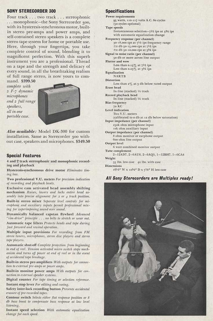 1962 Sony brochure page showing the Sony 300 tape recorder specs in Reel2ReelTexas.com's vintage recording collection