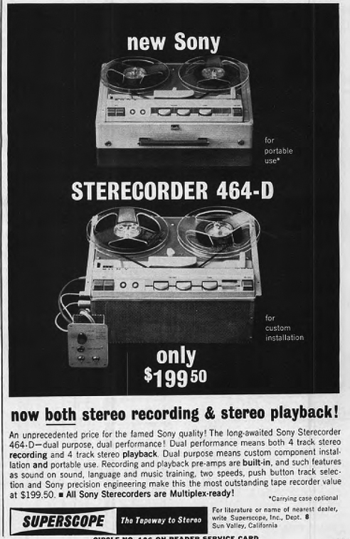 1962 ad for the Sony Superscope 464-D  tape recorder in the Phantom Productions vintage recording collection