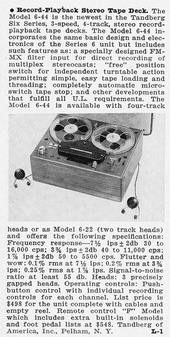 1962 review of the Tandberg 6-22 reel to reel tape recorder in Phantom Productions' vintage reel 2 reel tape recording collection