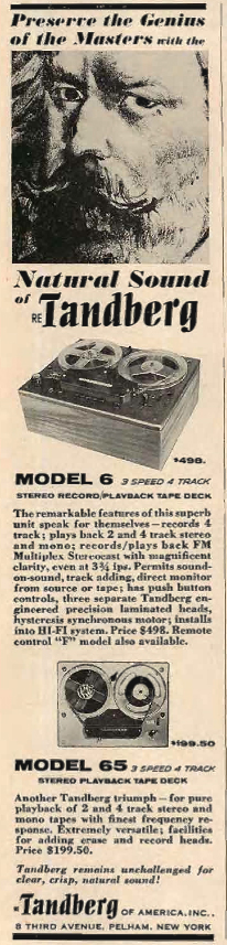 1962 ad for the Tandberg 6 reel to reel tape recorder in Phantom Productions' vintage reel 2 reel tape recording collection