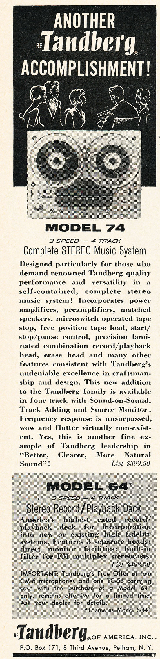 1962 ad for the Tandberg 74 reel to reel tape recorder in Phantom Productions' vintage reel 2 reel tape recording collection