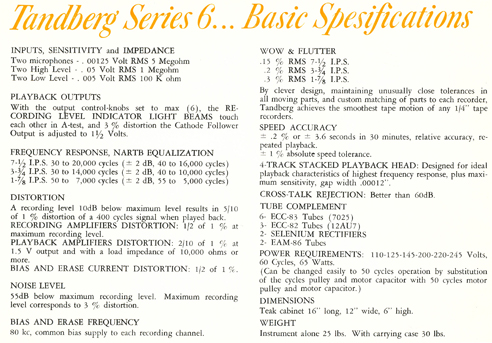 1962 Instruction manual page showing basic specifications  for the Tandberg Series 6 stereo tape deck in Phantom Productions' vintage reel 2 reel tape recording collection