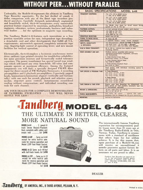 1962 sales flyer showing specs  for the Tandberg Series 6-44 stereo tape deck in Phantom Productions' vintage reel 2 reel tape recording collection