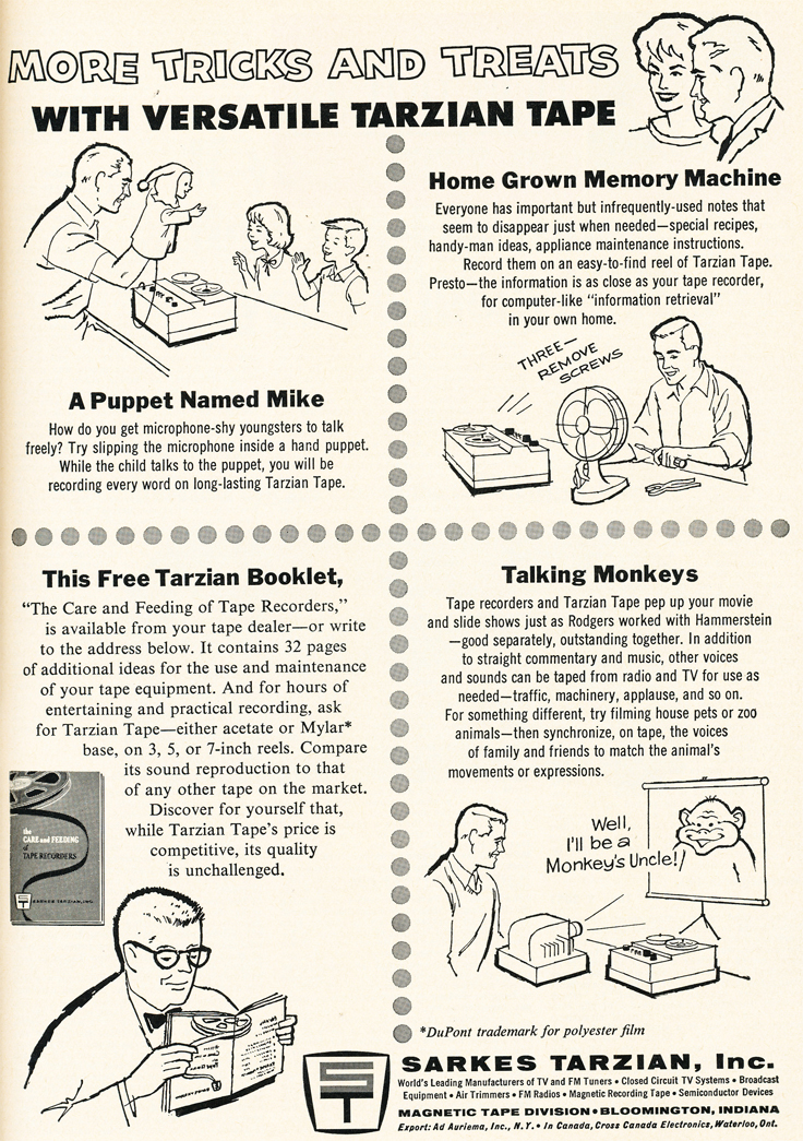1962 ad for Tarzianreel to reel recording tape in Reel2ReelTexas.com's vintage recording collection