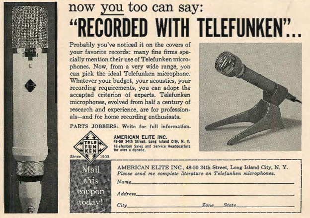1962 ad for Telefunken microphones  in Reel2ReelTexas.com's vintage recording collection