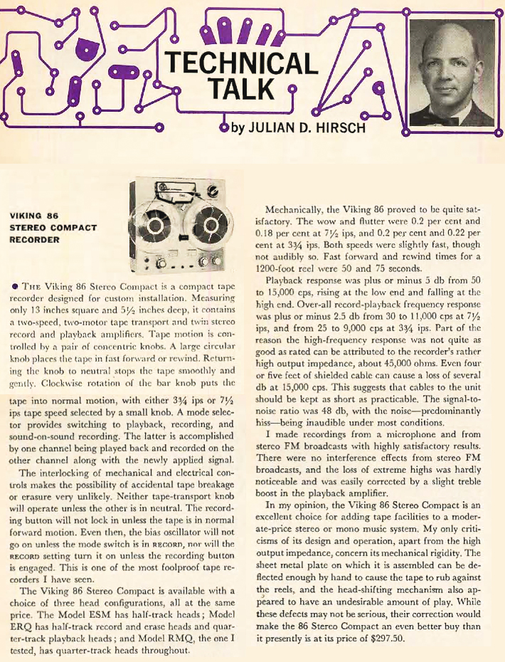 1962 Julian Hirsch review of the Viking 86 reel to reel tape recorder in Reel2ReelTexas.com's vintage recording collection