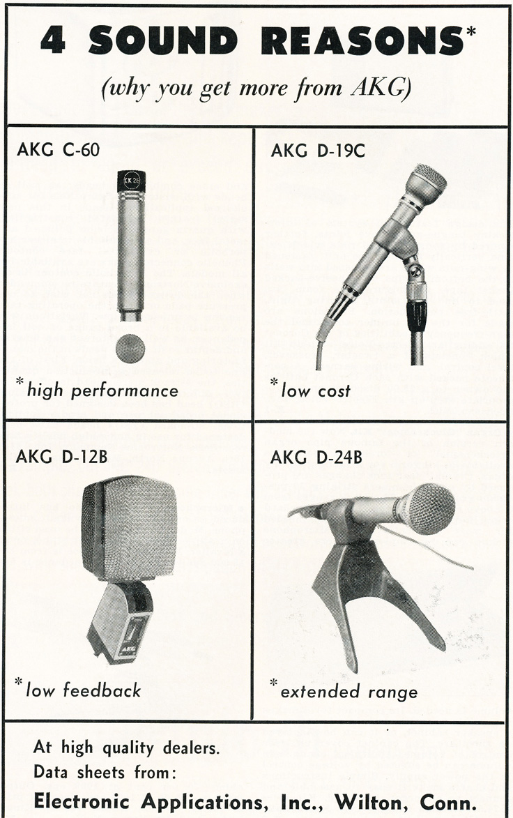 1963 ad for AKG microphones in   Reel2ReelTexas.com's vintage recording collection